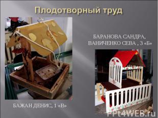Плодотворный труд Баранова Сандра, Ваниченко Сева , 3 «Б»Бажан Денис, 1 «В»