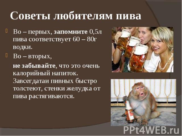 Советы любителям пива Во – первых, запомните 0,5л пива соответствует 60 – 80г водки.Во – вторых, не забывайте, что это очень калорийный напиток. Завсегдатаи пивных быстро толстеют, стенки желудка от пива растягиваются.