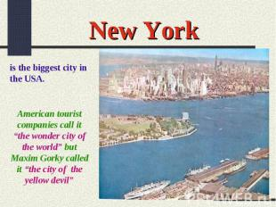 "New Yorkis the biggest city in the USA.American tourist companies call it ""the w"