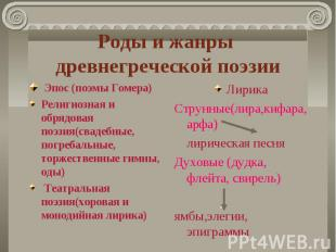 Роды и жанры древнегреческой поэзии Эпос (поэмы Гомера)Религиозная и обрядовая п