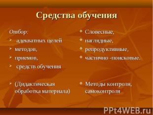Средства обучения Отбор: адекватных целей методов, приемов, средств обучения (Ди