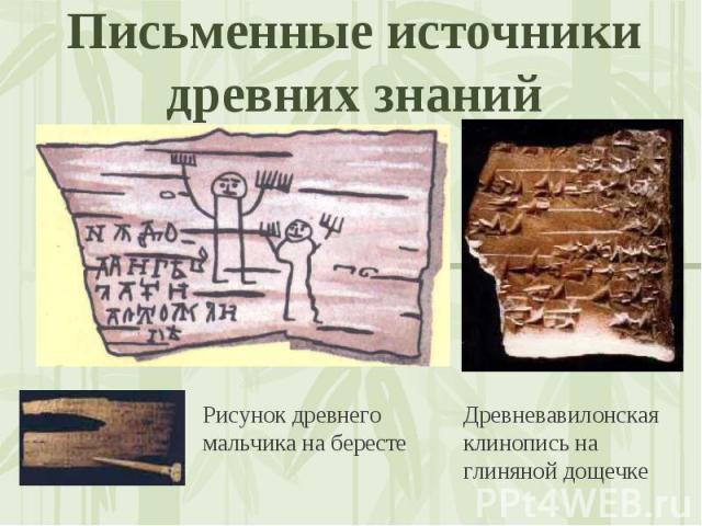Письменные источники древних знаний Рисунок древнего мальчика на берестеДревневавилонская клинопись на глиняной дощечке