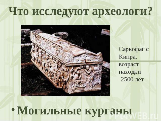 Что исследуют археологи? Саркофаг с Кипра, возраст находки -2500 лет Могильные курганы
