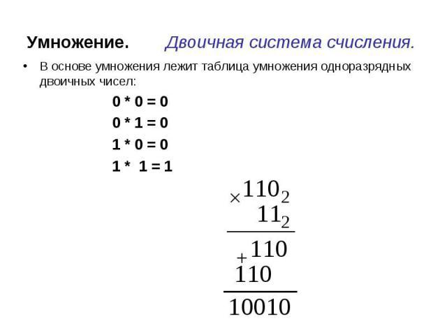 Умножение. Двоичная система счисления. В основе умножения лежит таблица умножения одноразрядных двоичных чисел: 0 * 0 = 0 0 * 1 = 0 1 * 0 = 01 * 1 = 1