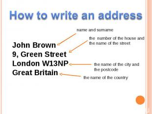 How to write an address John Brown9, Green StreetLondon W13NPGreat Britain