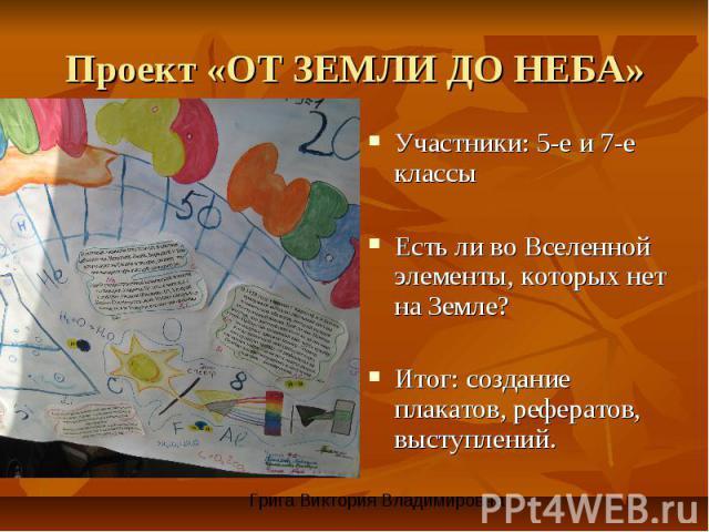 Проект «ОТ ЗЕМЛИ ДО НЕБА» Участники: 5-е и 7-е классыЕсть ли во Вселенной элементы, которых нет на Земле?Итог: создание плакатов, рефератов, выступлений.