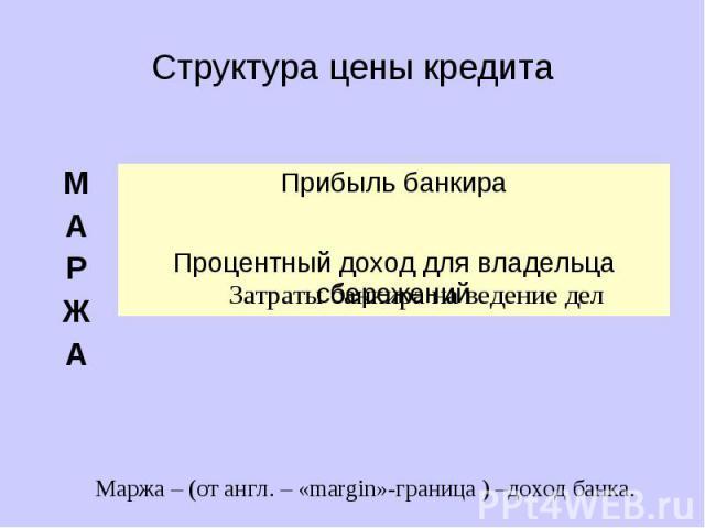 Структура цены кредита Маржа – (от англ. – «margin»-граница ) –доход банка.