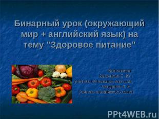 """Бинарный урок (окружающий мир + английский язык) на тему """"Здоровое питание"""" Выпо"""
