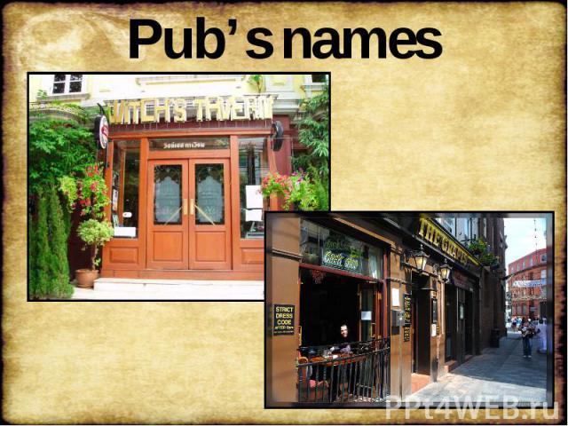 Pub's names