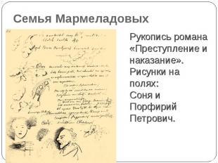 Семья Мармеладовых Рукопись романа «Преступление и наказание». Рисунки на полях: