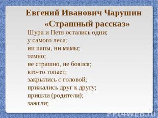 Евгений Иванович Чарушин«Страшный рассказ»Шура и Петя остались одни; у самого ле