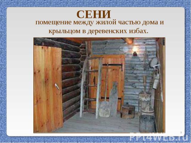 СЕНИ помещение между жилой частью дома и крыльцом в деревенских избах.