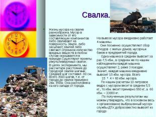 Свалка. Жизнь мусора на свалке разнообразна. Мусор в зависимости от его составля