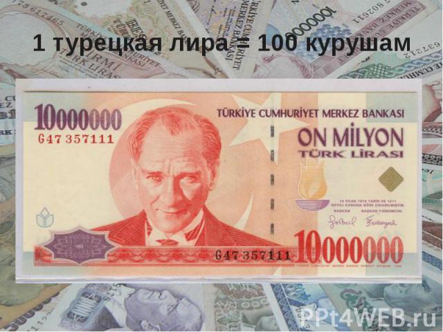 1 турецкая лира = 100 курушам