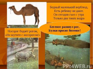 Бедный маленький верблюд,Есть ребенку не дают.Он сегодня съел с утраТолько два т