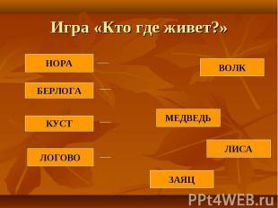 Игра «Кто где живет?»