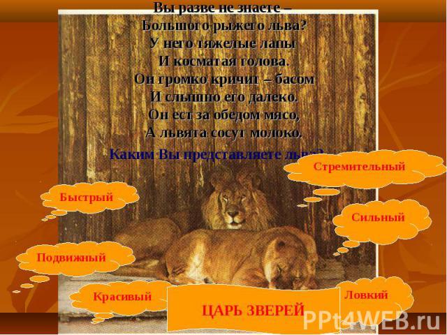 Вы разве не знаете – Большого рыжего льва?У него тяжелые лапы И косматая голова.Он громко кричит – басомИ слышно его далеко.Он ест за обедом мясо,А львята сосут молоко. Каким Вы представляете льва?