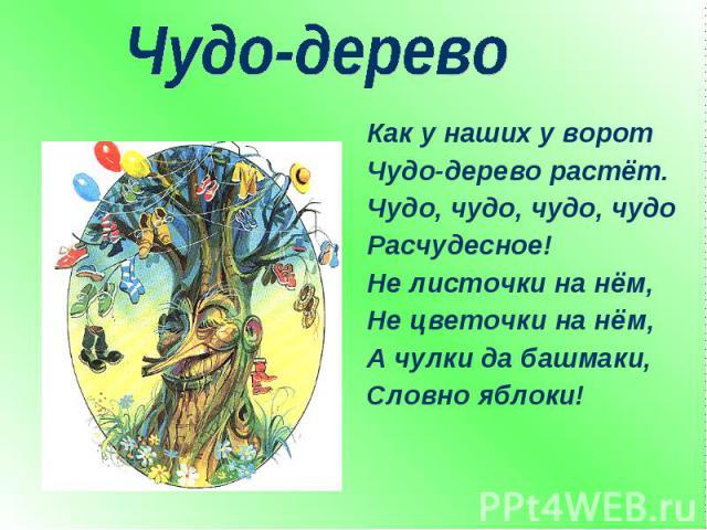 Чудо-дерево Как у наших у воротЧудо-дерево растёт.Чудо, чудо, чудо, чудоРасчудесное!Не листочки на нём,Не цветочки на нём,А чулки да башмаки,Словно яблоки!