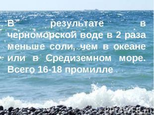 В результате в черноморской воде в 2 раза меньше соли, чем в океане или в Средиз