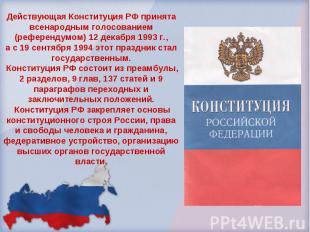 Действующая Конституция РФ принята всенародным голосованием (референдумом) 12 де