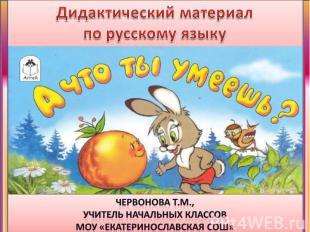 Дидактический материалпо русскому языку Червонова Т.М., учитель начальных классо