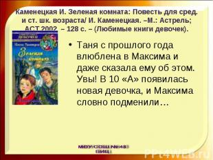 Каменецкая И. Зеленая комната: Повесть для сред. и ст. шк. возраста/ И. Каменецк