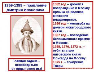 1359-1389 – правление Дмитрия Ивановича 1362 год – добился возвращение в Москвуя