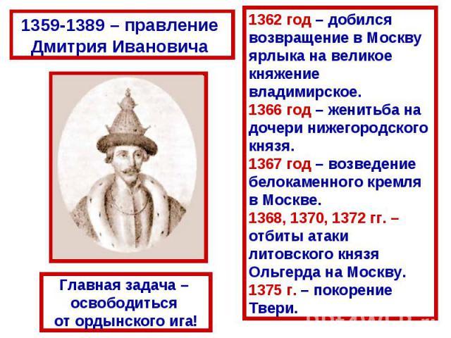 1359-1389 – правление Дмитрия Ивановича 1362 год – добился возвращение в Москвуярлыка на великое княжение владимирское.1366 год – женитьба на дочери нижегородского князя.1367 год – возведение белокаменного кремля в Москве.1368, 1370, 1372 гг. – отби…