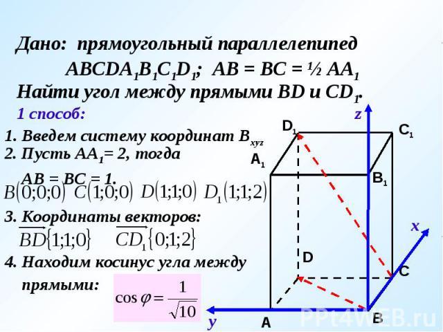 Дано: прямоугольный параллелепипед АВСDA1B1C1D1; АВ = ВС = ½ АА1Найти угол между прямыми ВD и CD1.1. Введем систему координат Bxyz2. Пусть АА1= 2, тогда АВ = ВС = 1.3. Координаты векторов:4. Находим косинус угла между прямыми: