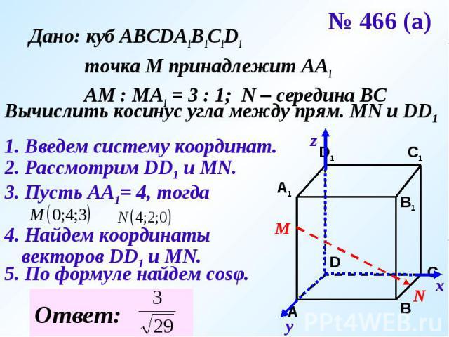Дано: куб АВСDA1B1C1D1 точка М принадлежит АА1 АМ : МА1 = 3 : 1; N – середина ВСВычислить косинус угла между прям. MN и DD11. Введем систему координат.2. Рассмотрим DD1 и МN.3. Пусть АА1= 4, тогда4. Найдем координаты векторов DD1 и MN.5. По формуле …
