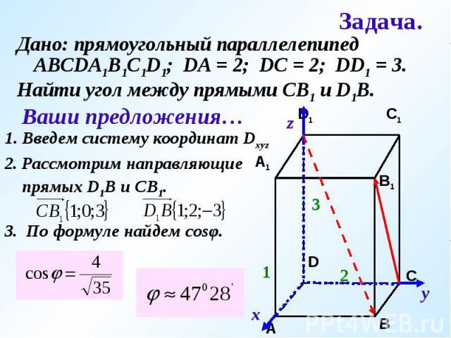 Дано: прямоугольный параллелепипед АВСDA1B1C1D1; DA = 2; DC = 2; DD1 = 3.Найти угол между прямыми СВ1 и D1B.Ваши предложения…1. Введем систему координат Dxyz2. Рассмотрим направляющие прямых D1B и CB1.3. По формуле найдем cosφ.