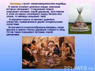 Вигвамы строят североамериканские индейцы. В землю втыкают длинные жерди, верхуш