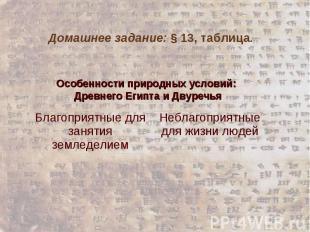 Домашнее задание: § 13, таблица. Особенности природных условий: Древнего Египта