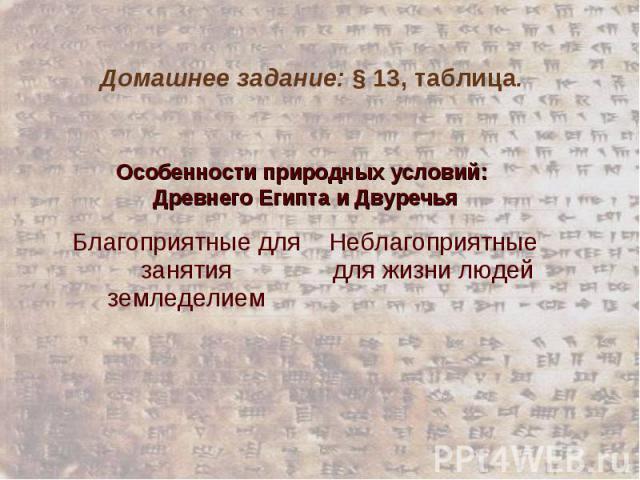 Домашнее задание: § 13, таблица. Особенности природных условий: Древнего Египта и Двуречья