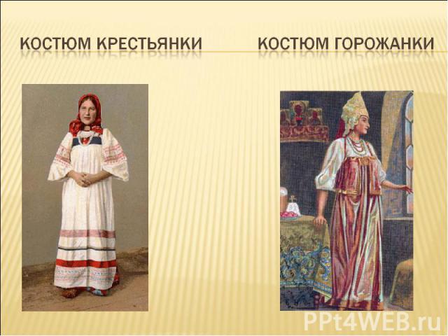 Костюм крестьянки Костюм горожанки