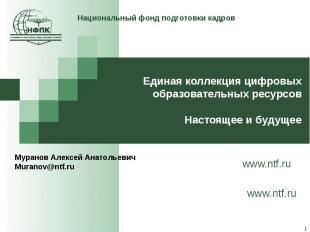Национальный фонд подготовки кадров Единая коллекция цифровых образовательных ре