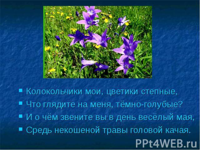 Колокольчики мои, цветики степные,Что глядите на меня, тёмно-голубые?И о чём звените вы в день весёлый мая, Средь некошеной травы головой качая.