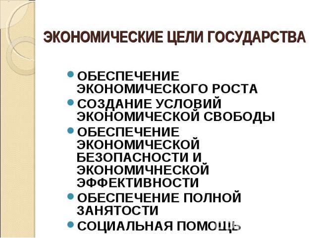 ЭКОНОМИЧЕСКИЕ ЦЕЛИ ГОСУДАРСТВА ОБЕСПЕЧЕНИЕ ЭКОНОМИЧЕСКОГО РОСТАСОЗДАНИЕ УСЛОВИЙ ЭКОНОМИЧЕСКОЙ СВОБОДЫОБЕСПЕЧЕНИЕ ЭКОНОМИЧЕСКОЙ БЕЗОПАСНОСТИ И ЭКОНОМИЧНЕСКОЙ ЭФФЕКТИВНОСТИОБЕСПЕЧЕНИЕ ПОЛНОЙ ЗАНЯТОСТИСОЦИАЛЬНАЯ ПОМОЩЬ