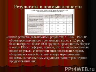Результаты в промышленности Сначала реформа дала немалый результат, с 1966 – 197