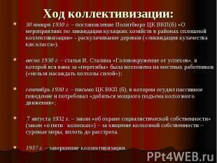 Ход коллективизации: 30 января 1930 г. – постановление Политбюро ЦК ВКП(б) «О ме