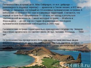 Галапагосские острова (исп. Islas Galápagos, от исп. galápago — разновидность во
