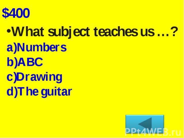 What subject teaches us …?NumbersABC Drawing The guitar