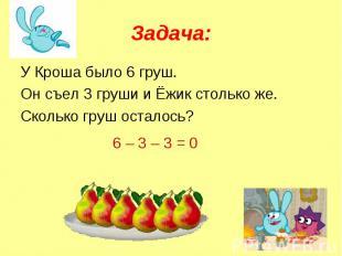 Задача: У Кроша было 6 груш.Он съел 3 груши и Ёжик столько же.Сколько груш остал