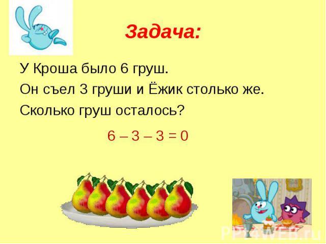 Задача: У Кроша было 6 груш.Он съел 3 груши и Ёжик столько же.Сколько груш осталось?