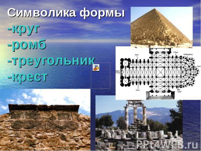 Символикаформы-круг-ромб-треугольник -крест