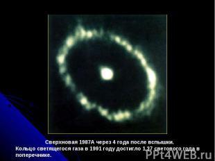 Сверхновая1987A через4 годапослевспышки. Кольцосветящегосягазав1991 году
