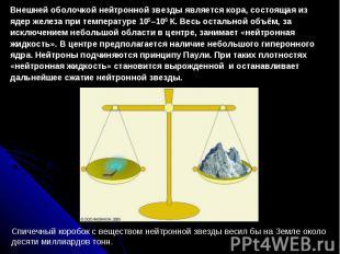 Внешней оболочкой нейтронной звезды является кора, состоящая из ядер железа при