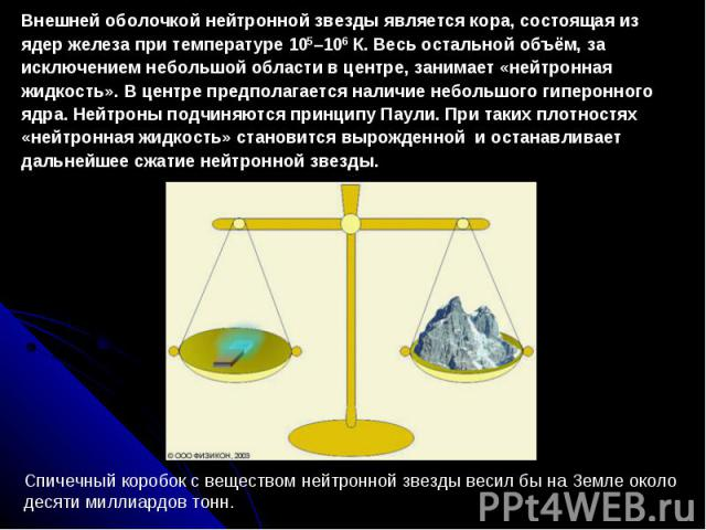 Внешней оболочкой нейтронной звезды является кора, состоящая из ядер железа при температуре 105–106 К. Весь остальной объём, за исключением небольшой области в центре, занимает «нейтронная жидкость». В центре предполагается наличие небольшого гиперо…