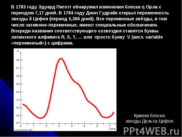 В 1783 году Эдуард Пиготт обнаружил изменения блеска η Орла с периодом 7,17 дней. В 1784 году Джон Гудрайк открыл переменность звезды δ Цефея (период 5,366 дней). Все переменные звёзды, в том числе затменно-переменные, имеют специальные обозначения.…