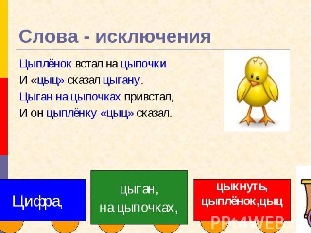 Слова - исключения Цыплёнок встал на цыпочкиИ «цыц» сказал цыгану.Цыган на цыпочках привстал,И он цыплёнку «цыц» сказал.Цифра,цыган,на цыпочках,цыкнуть,цыплёнок,цыц